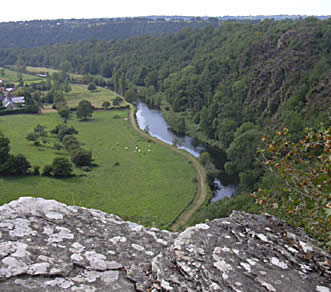 View of Vire river from summit of les roches de Ham, Normandy