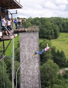 Bungee jumping from the Souleuvre viaduct in Normandy France